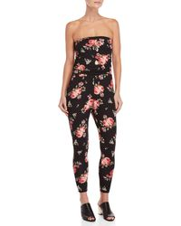 Almost Famous - Strapless Ruched Jumpsuit - Lyst