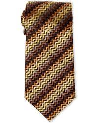 Missoni - Brown & Yellow Zigzag Silk Tie - Lyst