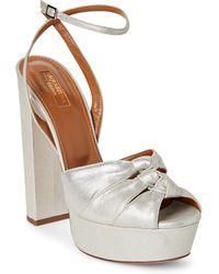 Aquazzura - Silver Mira Plateau Metallic Platform Sandals - Lyst