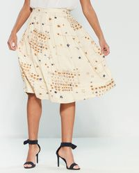 Emily and Fin - Cream Starry Night Faye Midi Skirt - Lyst