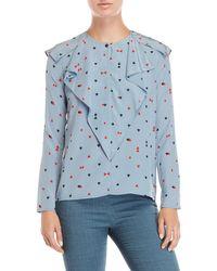 Sonia by Sonia Rykiel - Card Suit Printed Ruffle Shirt - Lyst