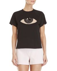 Giamba - Black Graphic Sequin Eye Tee - Lyst