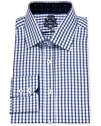 English Laundry - Navy & White Check Cotton Dress Shirt - Lyst