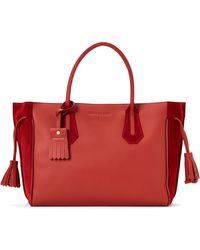 Longchamp - Red Penelope Medium Suede Tote - Lyst