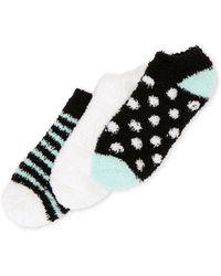 Ellen Tracy - 3-Pack Dot & Stripe No Show Cosy Socks - Lyst