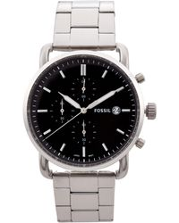 Fossil - Fs5399 Silver-tone & Black Commuter Watch - Lyst