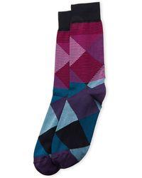 Bruno Magli - Diamond Stripe Crew Socks - Lyst