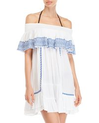 Blue Island - White Off-the-shoulder Embroidered Dress - Lyst