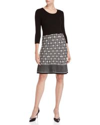 e85d66a90bc Sandra Darren - Two-tone Print Sweater Dress - Lyst