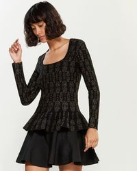 RVN Lurex Long Sleeve Peplum Top