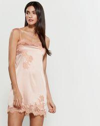 Cotton Club - Satin Lace Trim Nightgown - Lyst