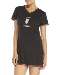 Rene Rofe - Embroidered V-Neck Sleepshirt - Lyst