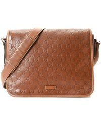 22b0b0a9239 Lyst - Gucci Bree Ssima Leather Shoulder Bag in Brown