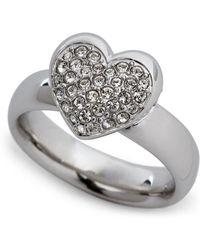 Swarovski - Silver-Tone Even Heart Ring Size 8 - Lyst