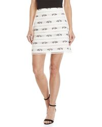 Giamba - White Floral Embroidered A-line Skirt - Lyst