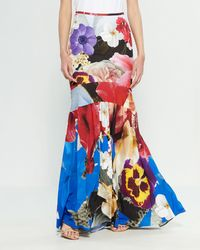 3c8c736839 Roberto Cavalli - Woman Floral-print Stretch-crepe Maxi Skirt Multicolor -  Lyst
