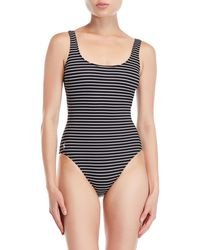 27c67f6c88a99 Polo Ralph Lauren - Striped Lace-up Back One-piece Swimsuit - Lyst