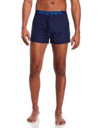 DIESEL - Elastic Waist Blue Board Shorts - Lyst