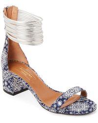 52f320f39c6 Aquazzura - Blue Spin Me Around Damask Ankle Strap Sandals - Lyst