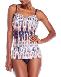 Jones New York | Shirred Printed One-Piece Swimsuit | Lyst