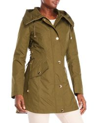 Guess - Side Lace-up Hooded Trench Coat - Lyst