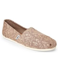 TOMS - Taupe Alpargata Feather Slip-on Shoes - Lyst