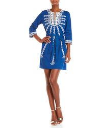 Figue - Blue Sophie Embroidered Three-quarter Sleeve Dress - Lyst