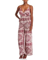 Lush - Printed Plunge Jumpsuit - Lyst