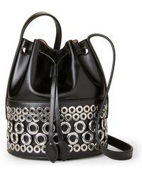 Alaïa   Black Eyelet-embellished Leather Bucket Bag   Lyst