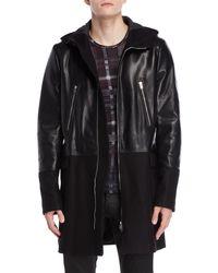 Patrizia Pepe - Black Mixed Media Faux Leather & Wool Coat - Lyst