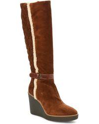 Aquatalia - Chestnut Viviana Suede Weatherproof Wedge Boots - Lyst