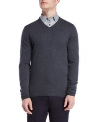 Ted Baker - Long Sleeve V-neck Sweater - Lyst