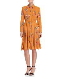 Nanette Nanette Lepore - Printed Pintuck Shirt Dress - Lyst