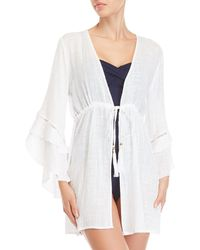 Spiaggia Dolce - White Deep V-neck Bell Sleeve Cover-up - Lyst