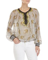 Giamba - Tiger & Metallic Stripe Silk Blouse - Lyst