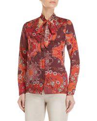 GAUDI - Printed Tie-neck Shirt - Lyst