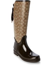 3b401e52f9f1 COACH - Khaki & Chestnut Tristee Signature Rain Boots - Lyst
