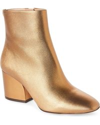 Ferragamo - Gold Leather Ankle Booties - Lyst