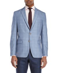 Lauren by Ralph Lauren | Blue & White Windowpane Sport Coat | Lyst