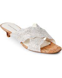 Donald J Pliner - White Elly Metallic Raffia Kitten Heel Sandals - Lyst