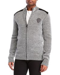 Buffalo David Bitton - Mock Neck Marled Zip-up Sweater - Lyst