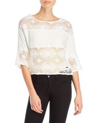 GAUDI - Lace Paneled Blouse - Lyst