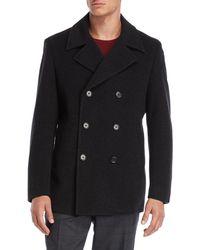 John Varvatos - Dark Charcoal Picket Double-breasted Peacoat - Lyst