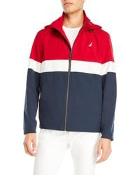 Nautica - Hooded Color Block Jacket - Lyst