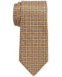 Isaac Mizrahi New York - Gold Geo Silk Tie - Lyst