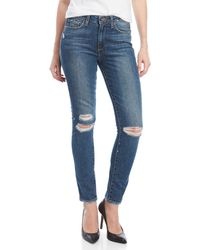PAIGE - Hoxton Destressed Ankle Peg Skinny Jeans - Lyst