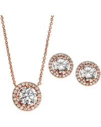 laudic - Rose Gold-Tone Necklace & Halo Stud Earrings Set - Lyst