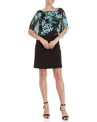 Connected Apparel - Petite Black Floral Chiffon Overlay Dress - Lyst