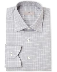 Canali - Grey & White Check Modern Fit Dress Shirt - Lyst