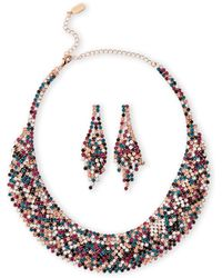 Natasha Couture - Gold-tone & Multicolor Crystal Necklace & Earrings Set - Lyst